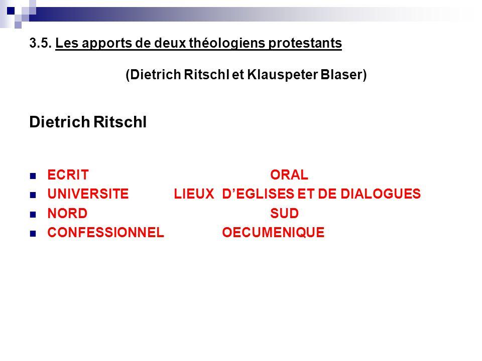 3.5. Les apports de deux théologiens protestants (Dietrich Ritschl et Klauspeter Blaser) Dietrich Ritschl ECRITORAL UNIVERSITELIEUX DEGLISES ET DE DIA