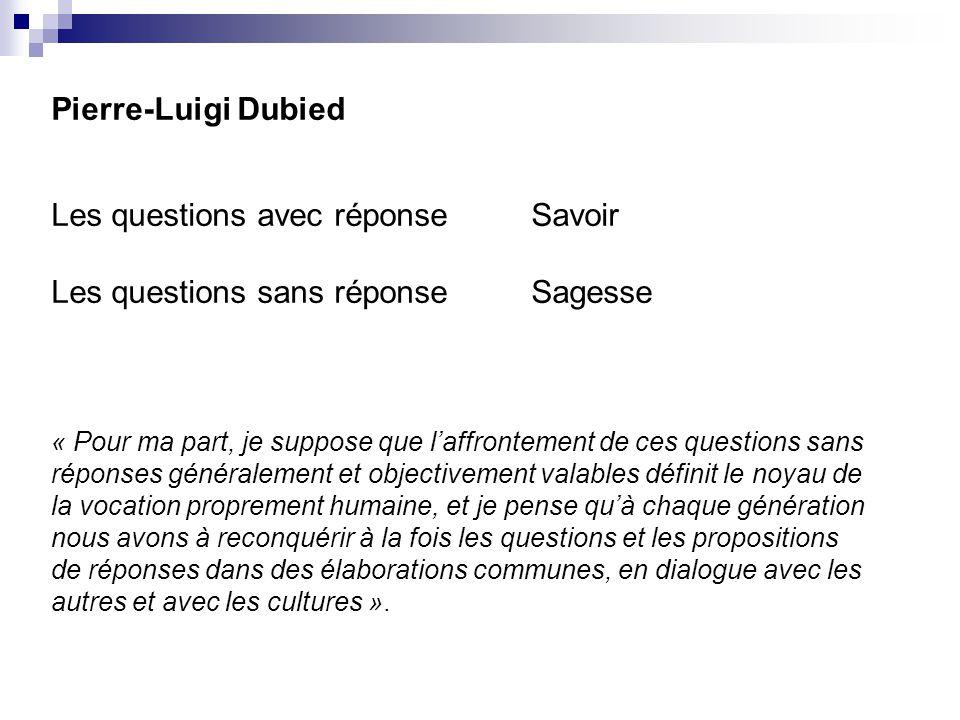 Pierre-Luigi Dubied Les questions avec réponseSavoir Les questions sans réponseSagesse « Pour ma part, je suppose que laffrontement de ces questions s
