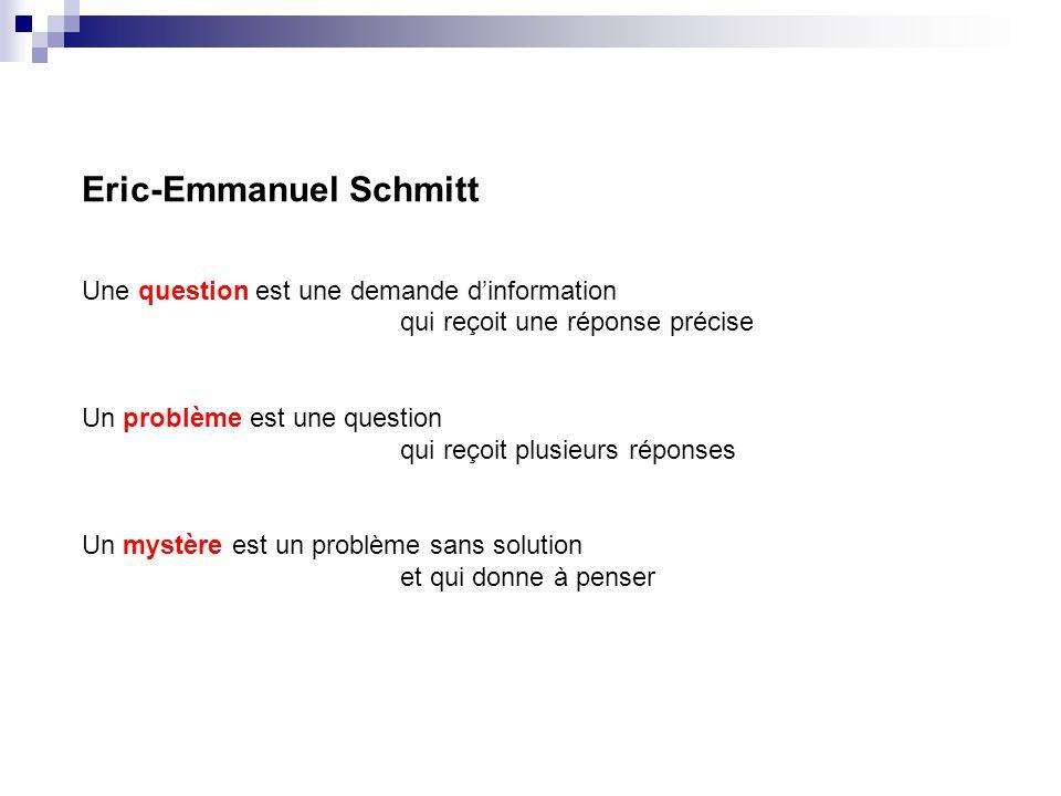 Eric-Emmanuel Schmitt Une question est une demande dinformation qui reçoit une réponse précise Un problème est une question qui reçoit plusieurs répon