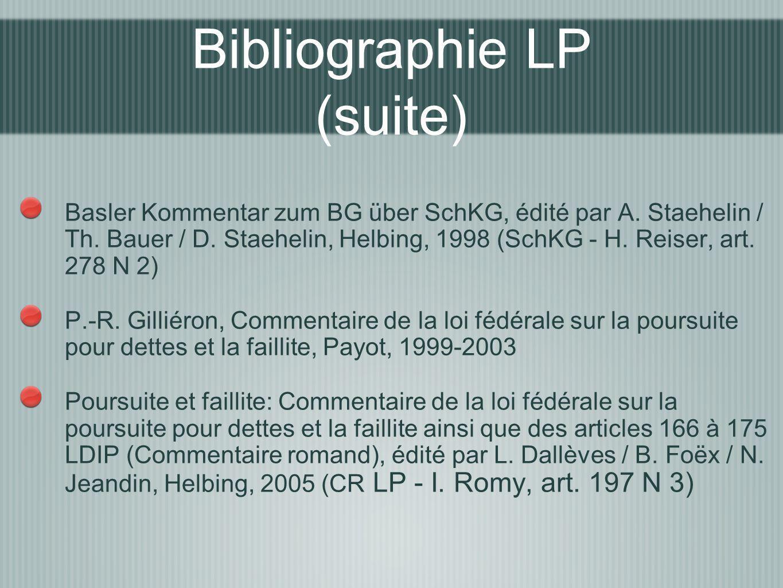 Basler Kommentar zum BG über SchKG, édité par A. Staehelin / Th. Bauer / D. Staehelin, Helbing, 1998 (SchKG - H. Reiser, art. 278 N 2) P.-R. Gilliéron