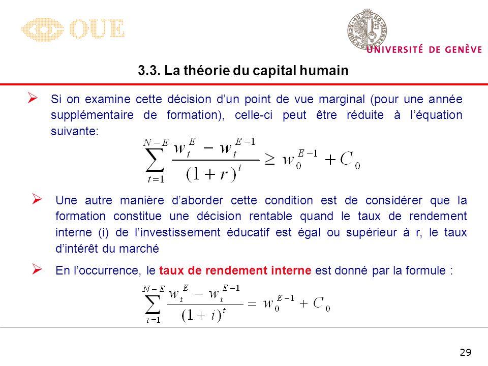 28 En soustrayant léquation (1) de léquation (2), on obtient la valeur actualisée nette dun investissement éducatif limité à 3 ans : 3.3. La théorie d