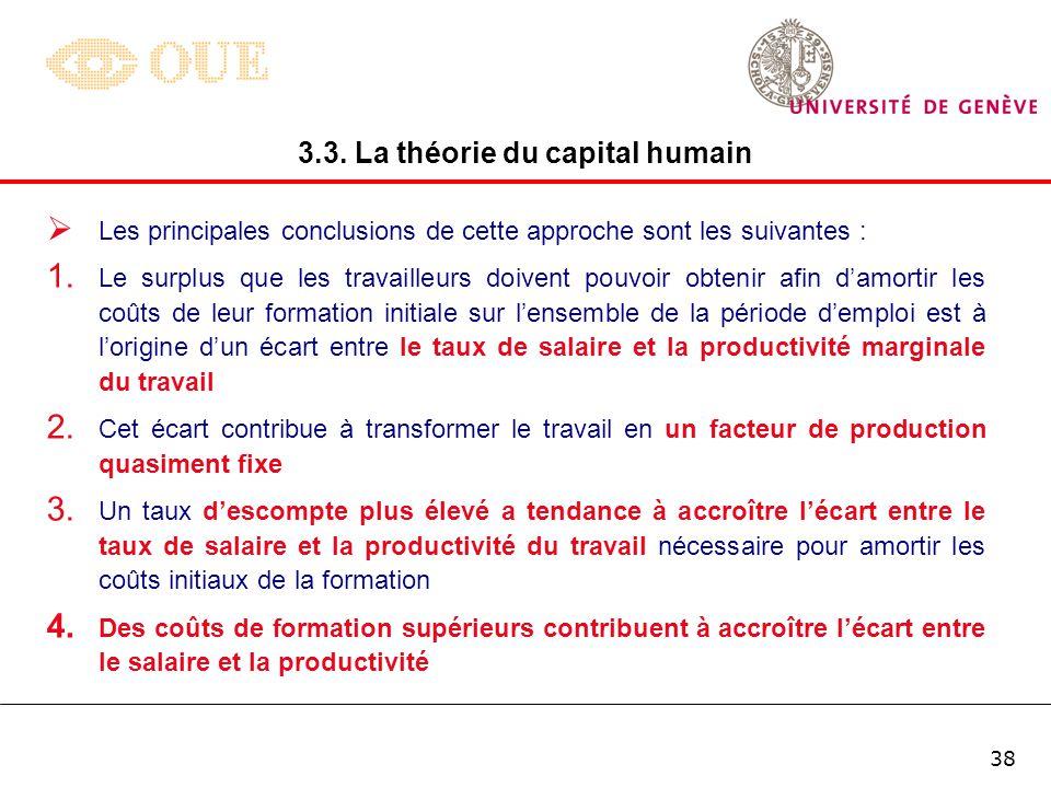 37 Dans ce cas, la condition déquilibre se simplifie comme suit : 3.3. La théorie du capital humain Dans ces circonstances, on constate que lemployeur