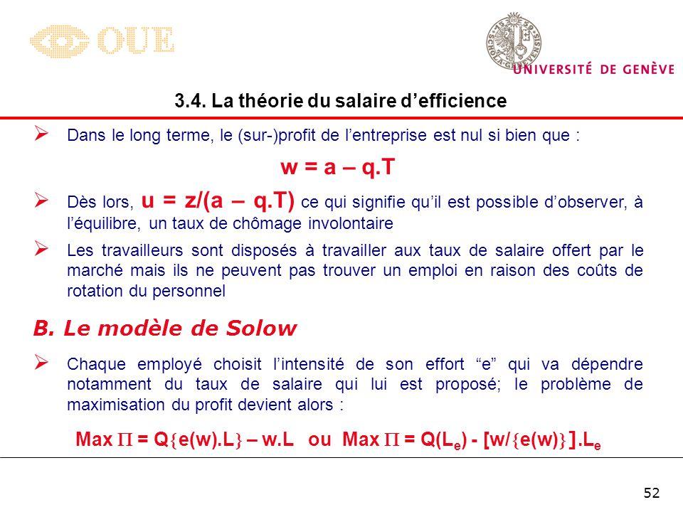 51 Le problème de maximisation du profit de lentreprise peut dès lors être exprimée de la manière suivante : 3.4. La théorie du salaire defficience Po