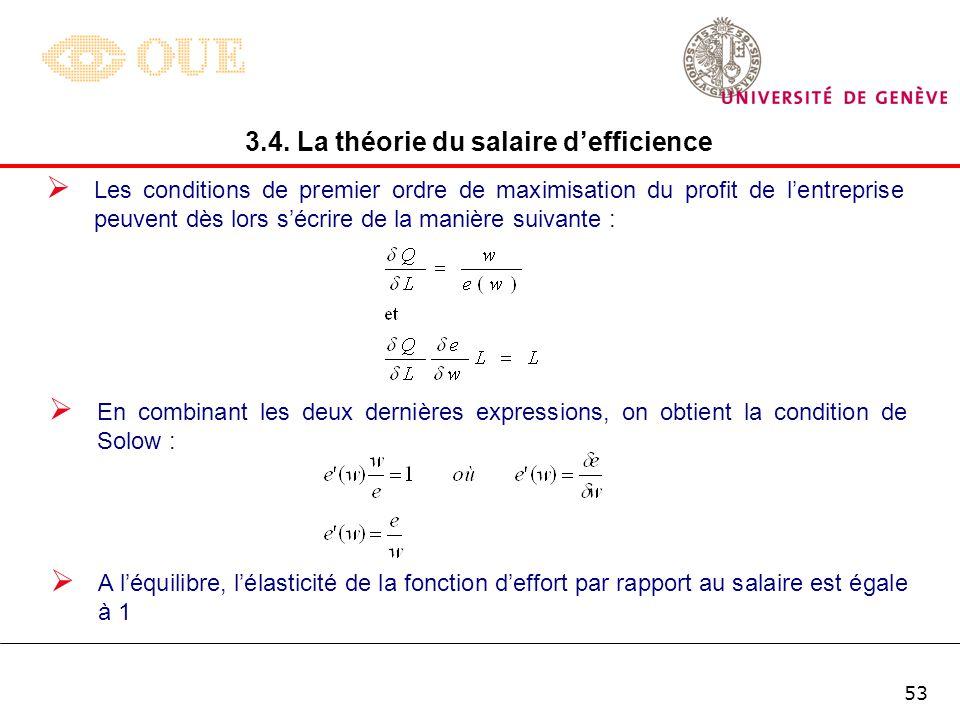 52 Dans le long terme, le (sur-)profit de lentreprise est nul si bien que : w = a – q.T Dès lors, u = z/(a – q.T) ce qui signifie quil est possible do