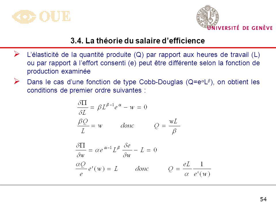 53 Les conditions de premier ordre de maximisation du profit de lentreprise peuvent dès lors sécrire de la manière suivante : 3.4. La théorie du salai