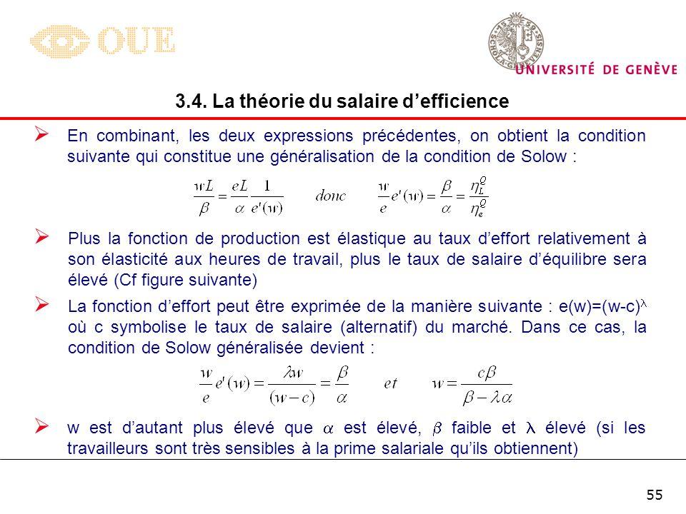 54 Lélasticité de la quantité produite (Q) par rapport aux heures de travail (L) ou par rapport à leffort consenti (e) peut être différente selon la f