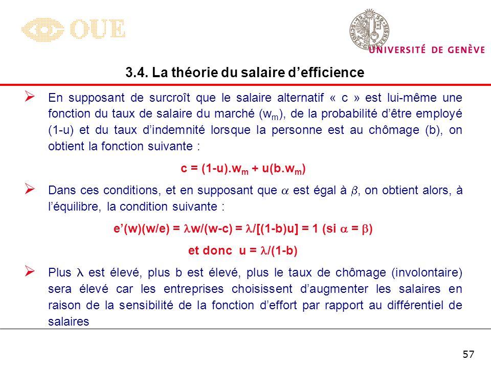 Fonction deffort w e A B wA*wA*wA*wA* Le point A symbolise la condition de Solow : lélasticité de la fonction deffort par rapport au taux de salaire e