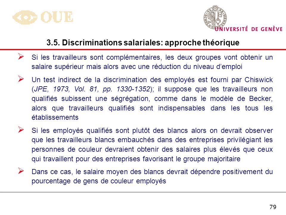78 La seconde forme de discrimination considérée par Becker est celle liée aux employés eux-mêmes, lorsque des groupes de travailleurs manifestent des