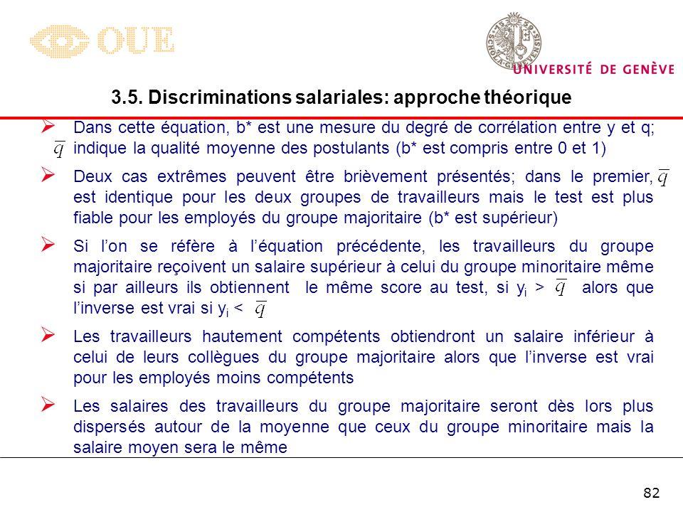 81 B. Discrimination statistique Dans les modèles de signal, les employeurs sont incapables dobserver directement la productivité des candidats à un p