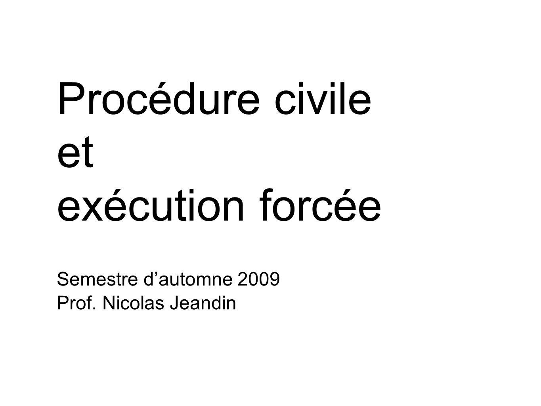 Semestre dautomne 2009 Prof. Nicolas Jeandin Procédure civile et exécution forcée