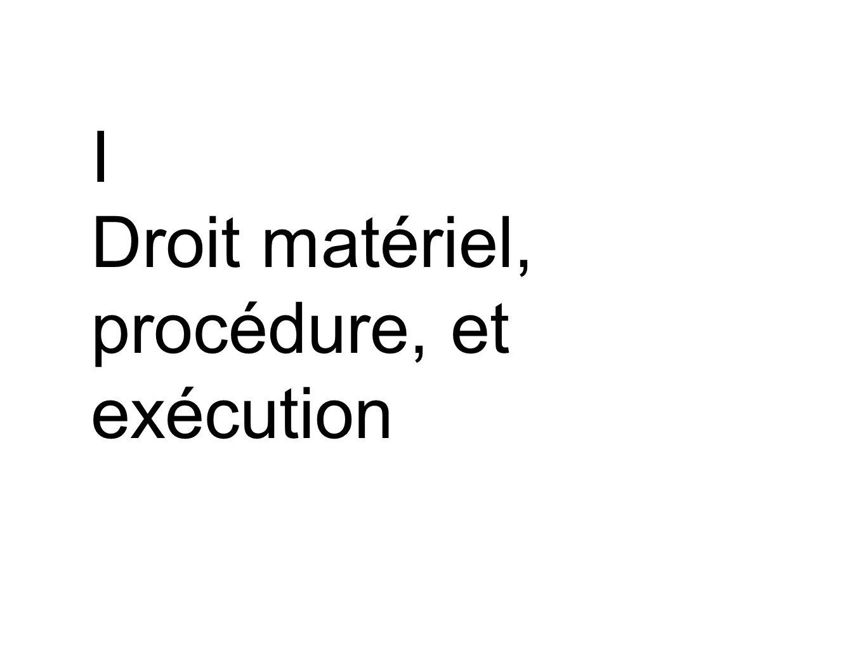 I Droit matériel, procédure, et exécution