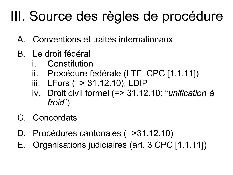 A.Conventions et traités internationaux B. Le droit fédéral i.
