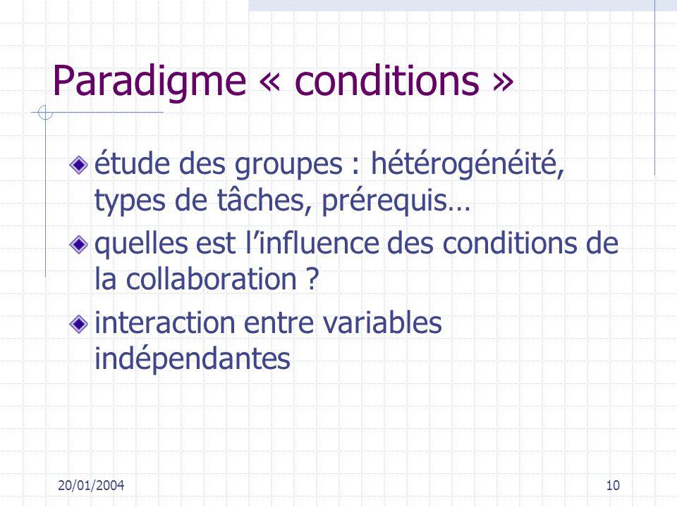 20/01/200410 Paradigme « conditions » étude des groupes : hétérogénéité, types de tâches, prérequis… quelles est linfluence des conditions de la colla