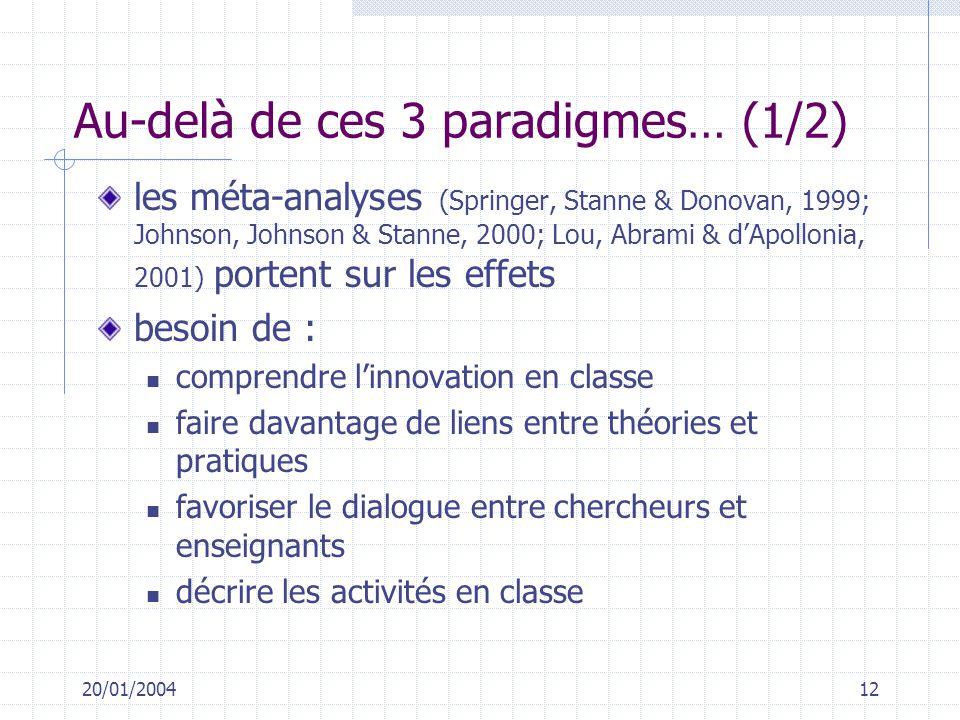 20/01/200412 Au-delà de ces 3 paradigmes… (1/2) les méta-analyses (Springer, Stanne & Donovan, 1999; Johnson, Johnson & Stanne, 2000; Lou, Abrami & dA