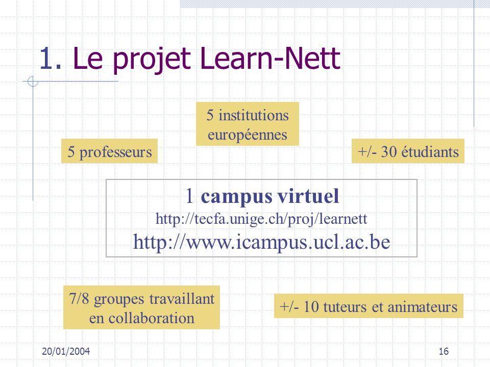 20/01/200416 1. Le projet Learn-Nett 5 institutions européennes +/- 30 étudiants +/- 10 tuteurs et animateurs 7/8 groupes travaillant en collaboration