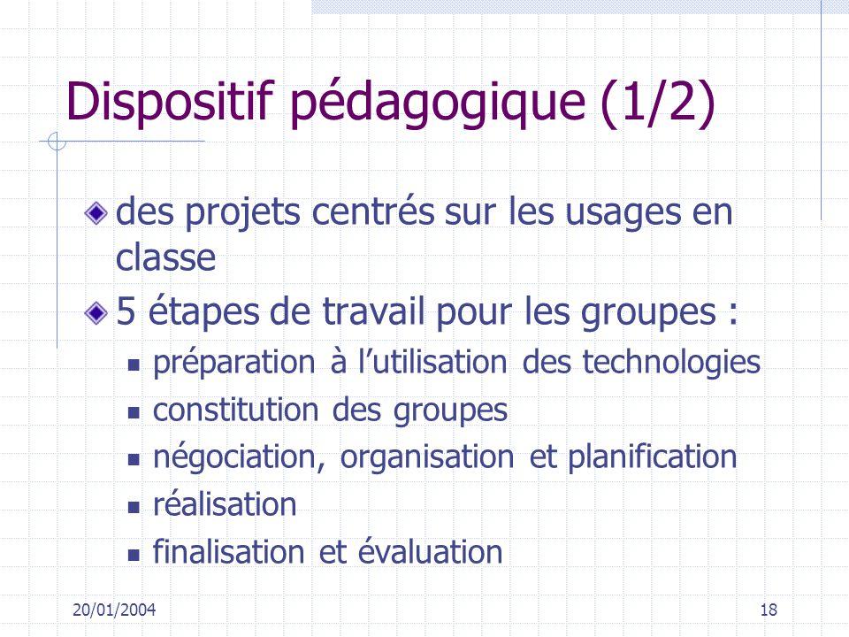 20/01/200418 Dispositif pédagogique (1/2) des projets centrés sur les usages en classe 5 étapes de travail pour les groupes : préparation à lutilisati