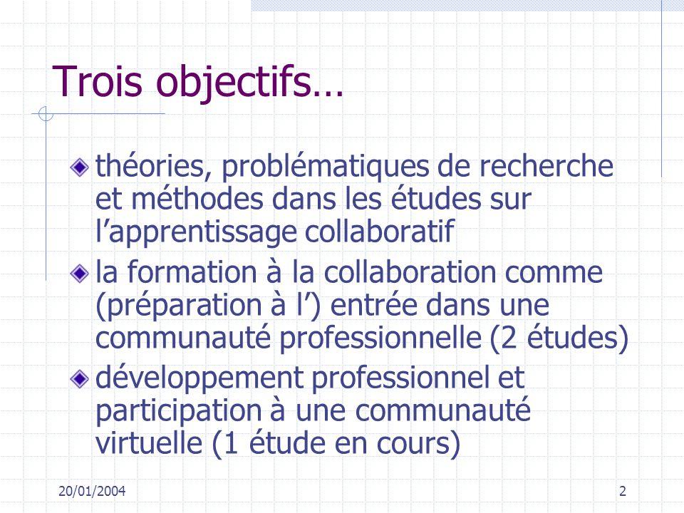 20/01/20042 Trois objectifs… théories, problématiques de recherche et méthodes dans les études sur lapprentissage collaboratif la formation à la colla