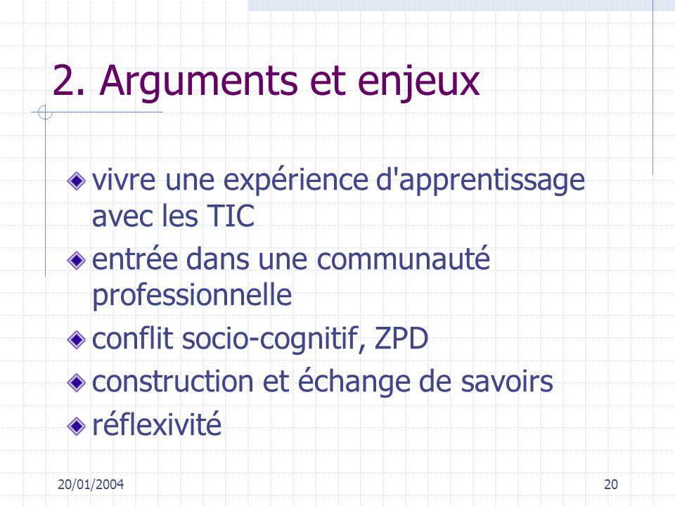 20/01/200420 2. Arguments et enjeux vivre une expérience d'apprentissage avec les TIC entrée dans une communauté professionnelle conflit socio-cogniti