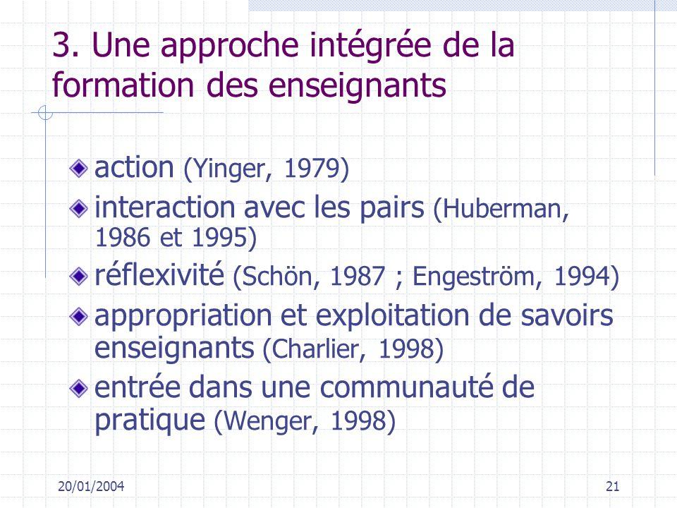 20/01/200421 3. Une approche intégrée de la formation des enseignants action (Yinger, 1979) interaction avec les pairs (Huberman, 1986 et 1995) réflex