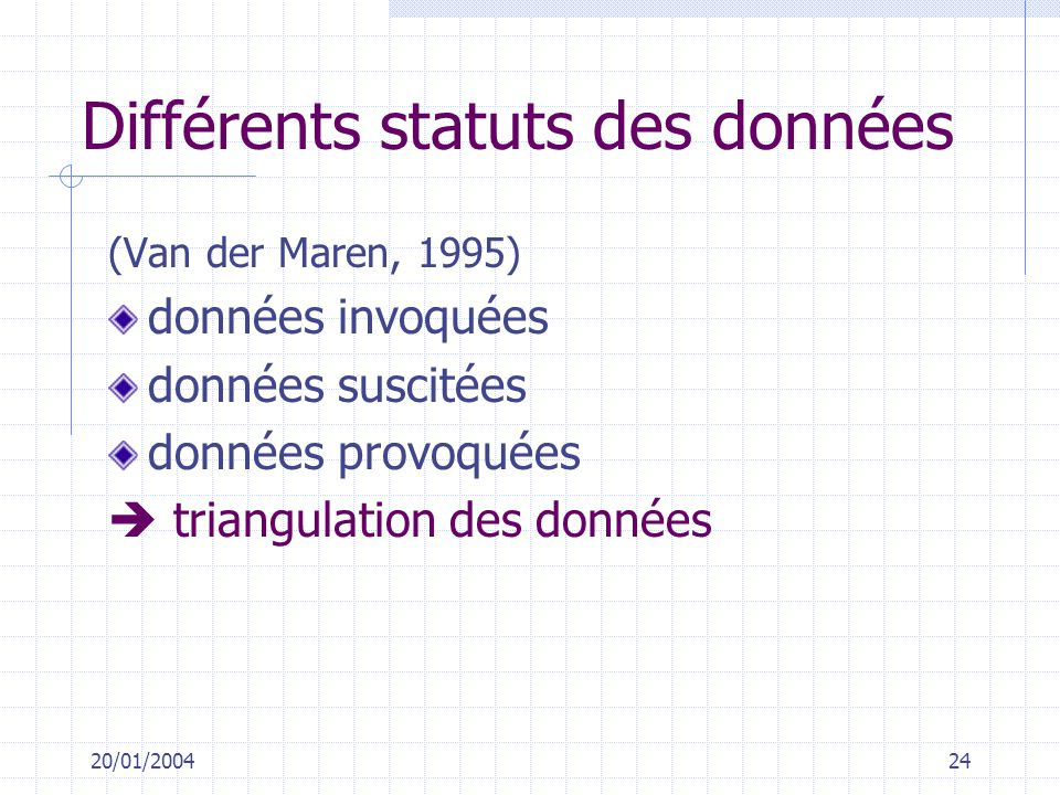20/01/200424 Différents statuts des données (Van der Maren, 1995) données invoquées données suscitées données provoquées triangulation des données