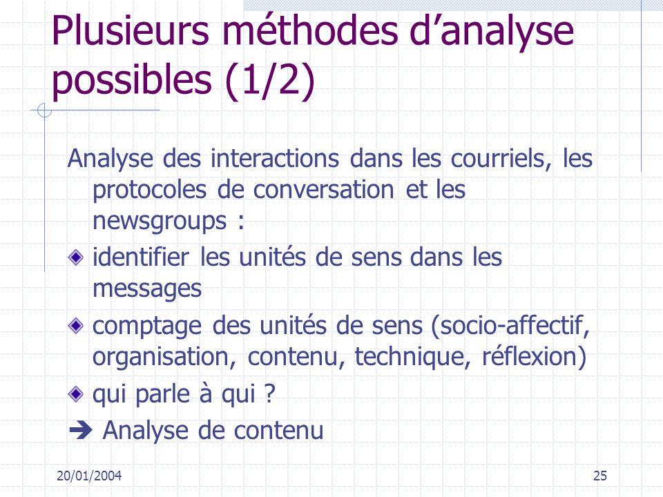 20/01/200425 Plusieurs méthodes danalyse possibles (1/2) Analyse des interactions dans les courriels, les protocoles de conversation et les newsgroups