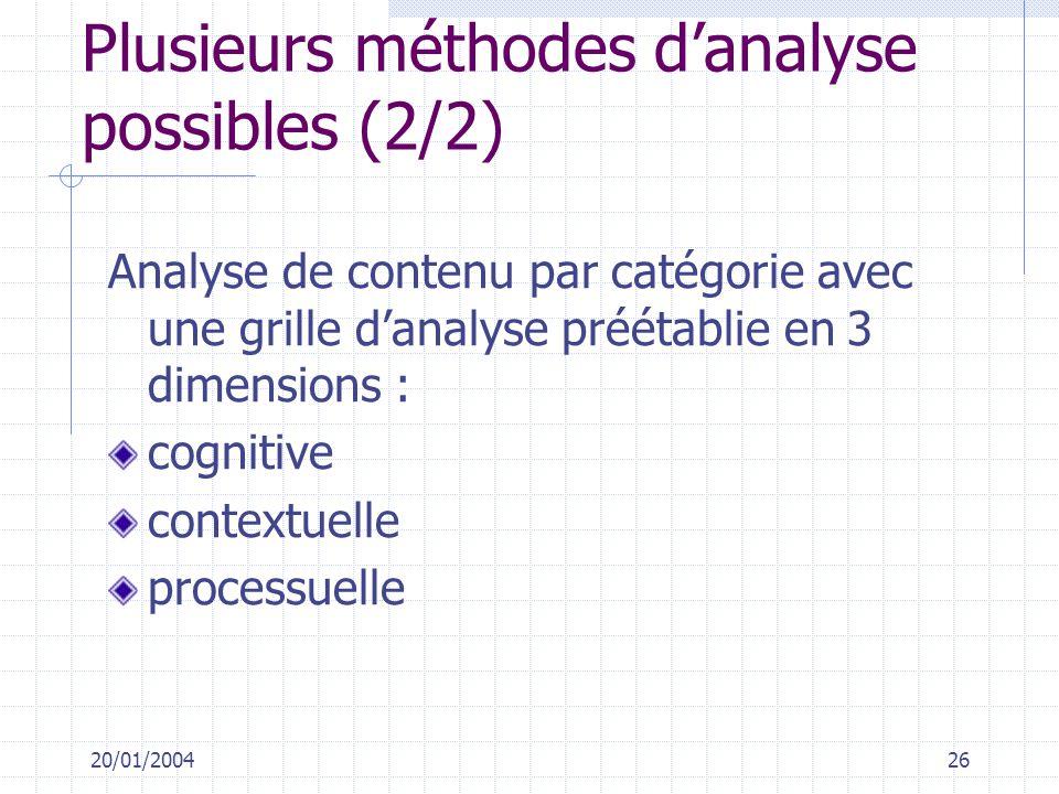 20/01/200426 Plusieurs méthodes danalyse possibles (2/2) Analyse de contenu par catégorie avec une grille danalyse préétablie en 3 dimensions : cognit