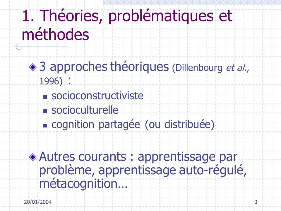 20/01/20043 1. Théories, problématiques et méthodes 3 approches théoriques (Dillenbourg et al., 1996) : socioconstructiviste socioculturelle cognition