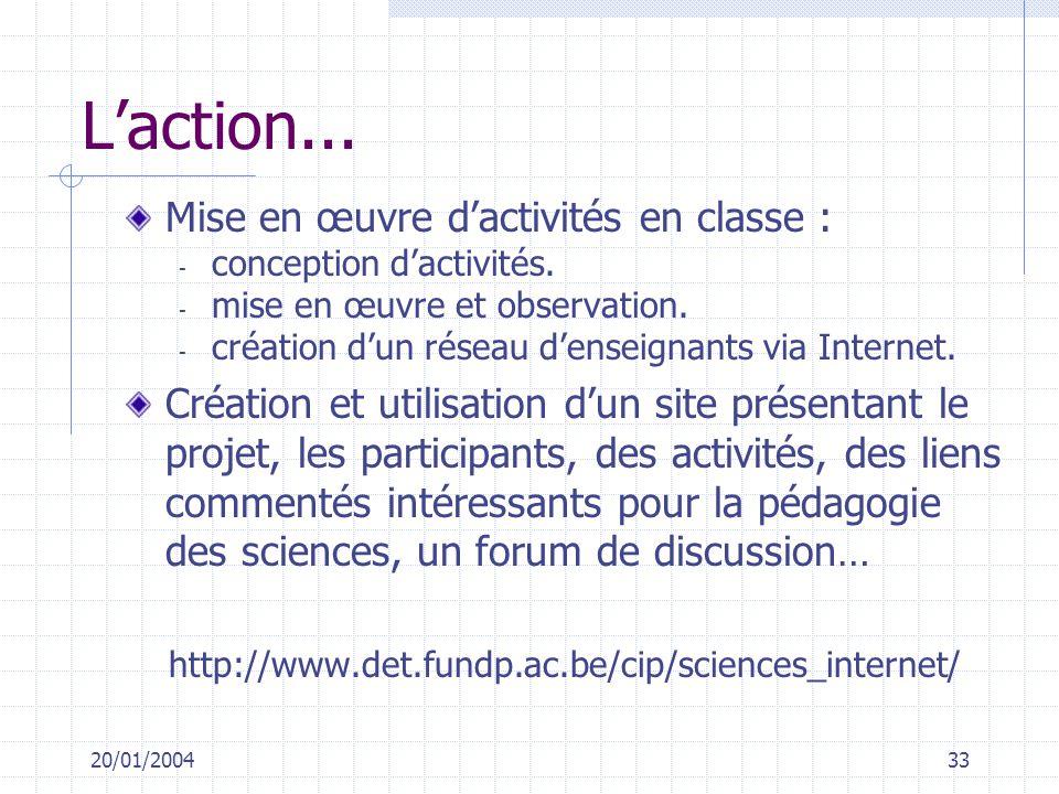 20/01/200433 Laction... Mise en œuvre dactivités en classe : - conception dactivités. - mise en œuvre et observation. - création dun réseau denseignan