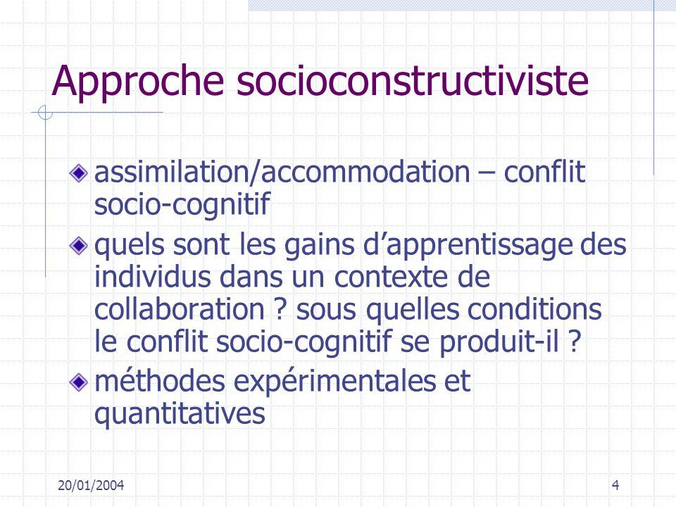 20/01/20044 Approche socioconstructiviste assimilation/accommodation – conflit socio-cognitif quels sont les gains dapprentissage des individus dans u