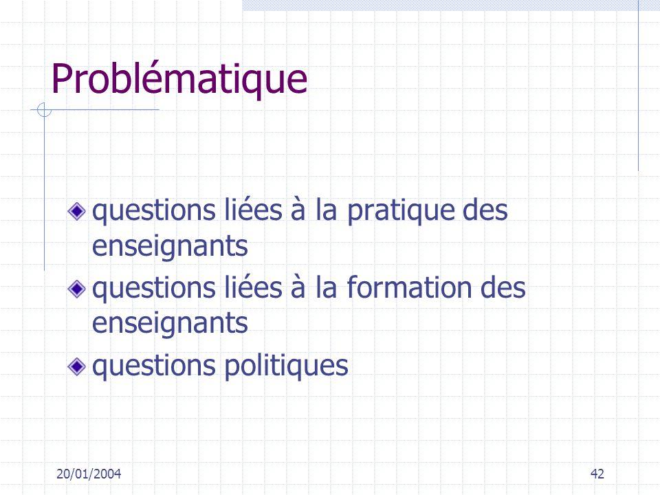 20/01/200442 Problématique questions liées à la pratique des enseignants questions liées à la formation des enseignants questions politiques