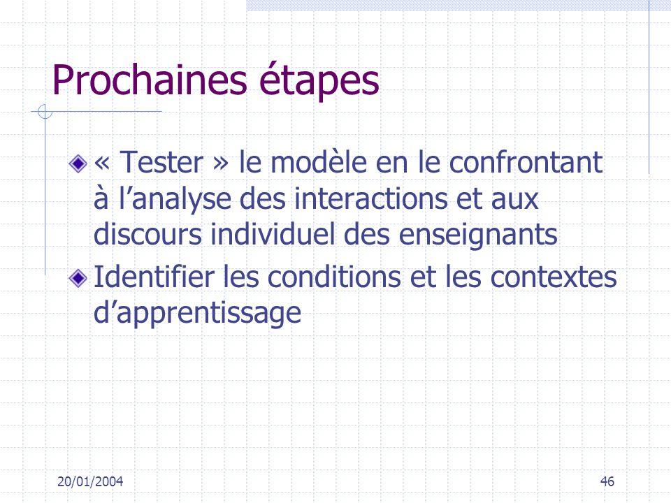 20/01/200446 Prochaines étapes « Tester » le modèle en le confrontant à lanalyse des interactions et aux discours individuel des enseignants Identifie