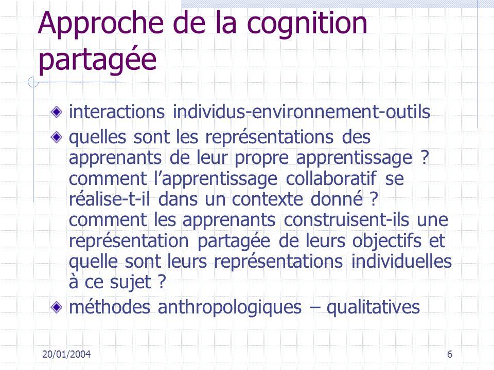20/01/20046 Approche de la cognition partagée interactions individus-environnement-outils quelles sont les représentations des apprenants de leur prop