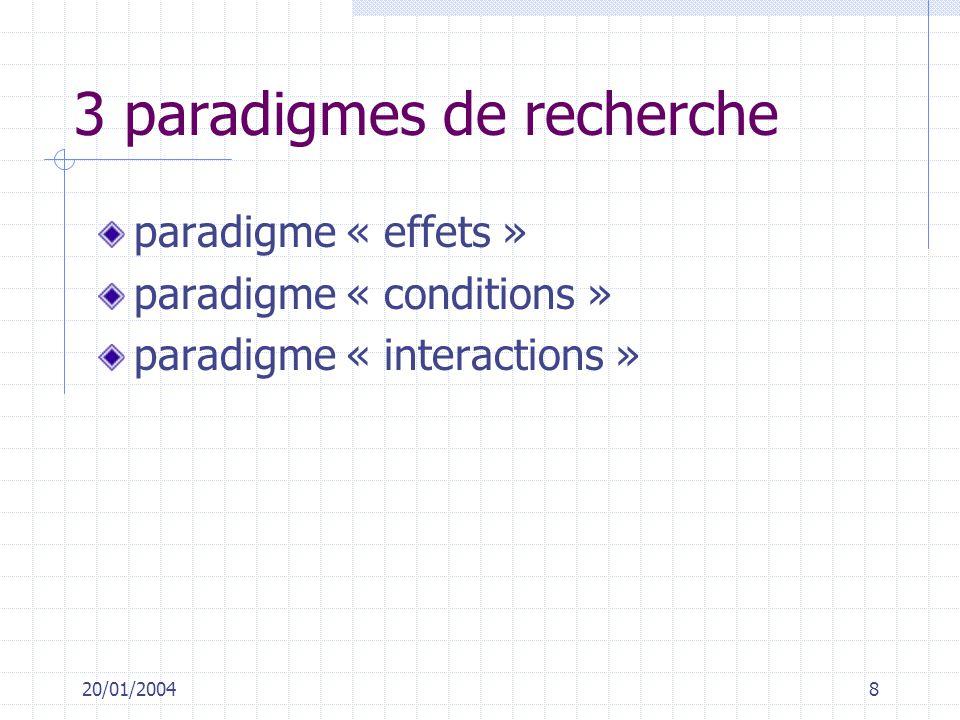20/01/20048 3 paradigmes de recherche paradigme « effets » paradigme « conditions » paradigme « interactions »