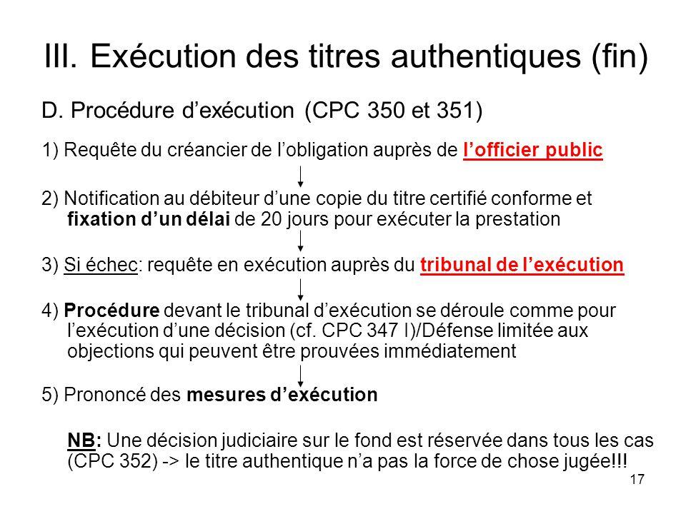 17 III. Exécution des titres authentiques (fin) D.