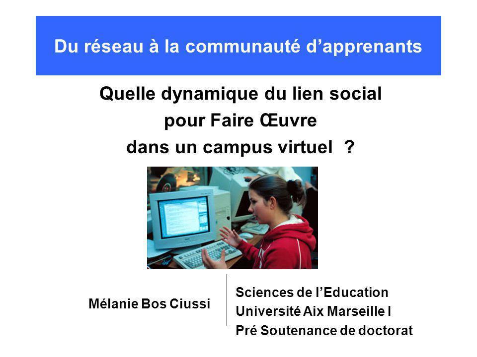 Du réseau à la communauté dapprenants Quelle dynamique du lien social pour Faire Œuvre dans un campus virtuel .