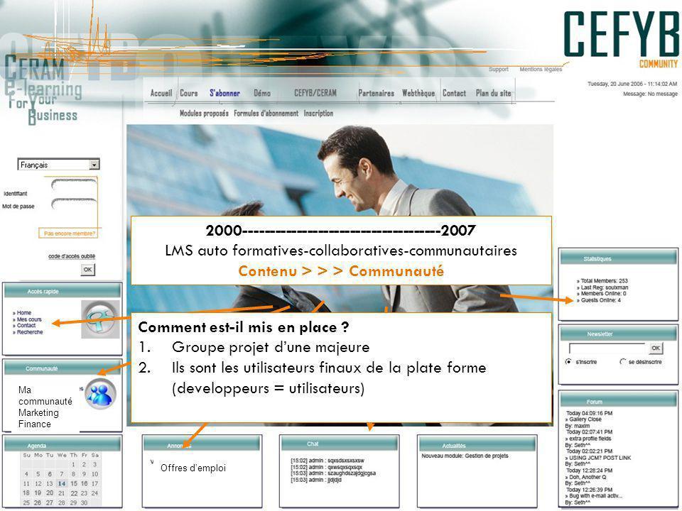 2000-------------------------------------2007 LMS auto formatives-collaboratives-communautaires Contenu > > > Communauté Comment est-il mis en place .