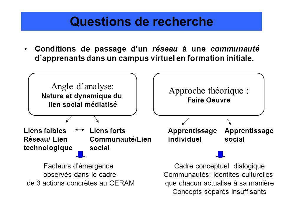 Questions de recherche Conditions de passage dun réseau à une communauté dapprenants dans un campus virtuel en formation initiale.