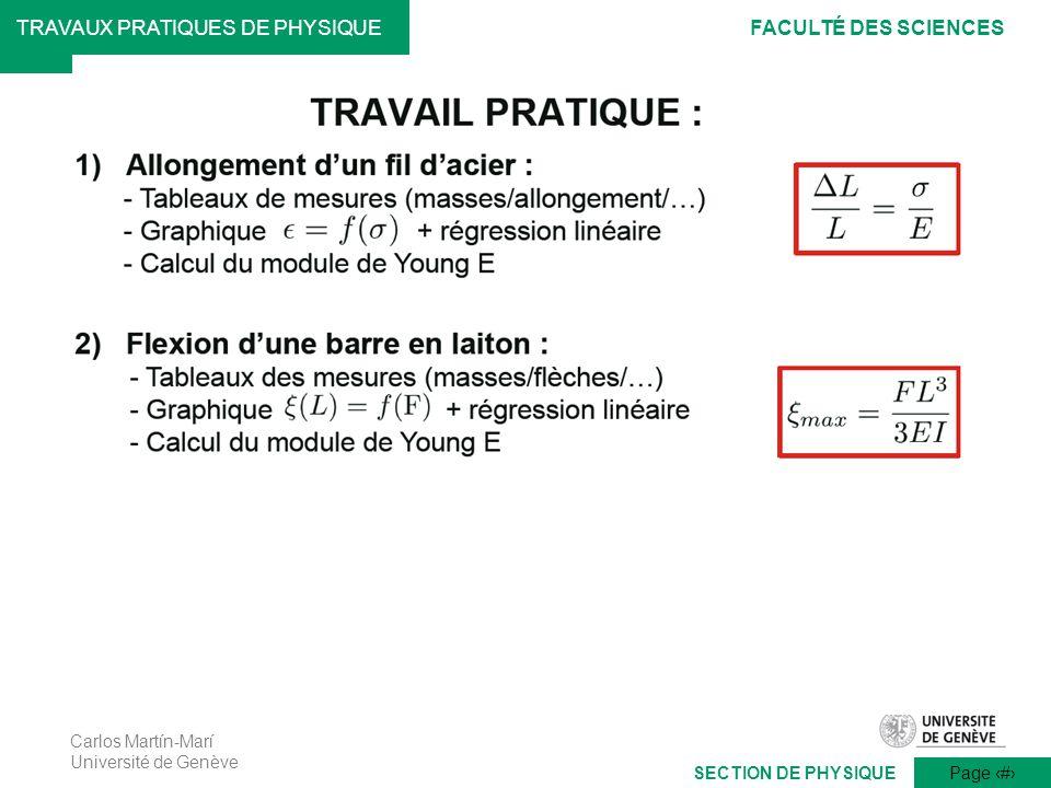 Carlos Martín-Marí Université de Genève Page 11 TRAVAUX PRATIQUES DE PHYSIQUEFACULTÉ DES SCIENCES SECTION DE PHYSIQUE