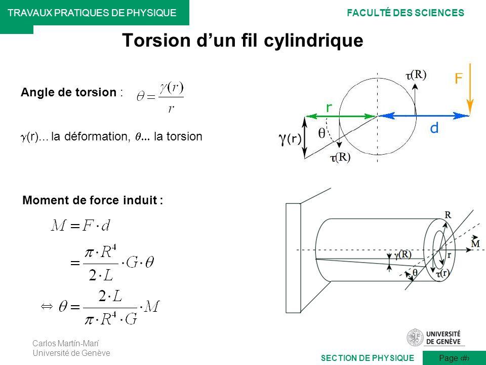 Carlos Martín-Marí Université de Genève Page 13 TRAVAUX PRATIQUES DE PHYSIQUEFACULTÉ DES SCIENCES SECTION DE PHYSIQUE Angle de torsion : (r)... la déf