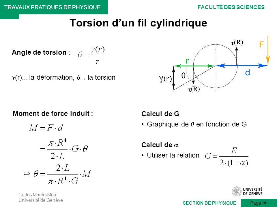Carlos Martín-Marí Université de Genève Page 14 TRAVAUX PRATIQUES DE PHYSIQUEFACULTÉ DES SCIENCES SECTION DE PHYSIQUE Angle de torsion : (r)... la déf