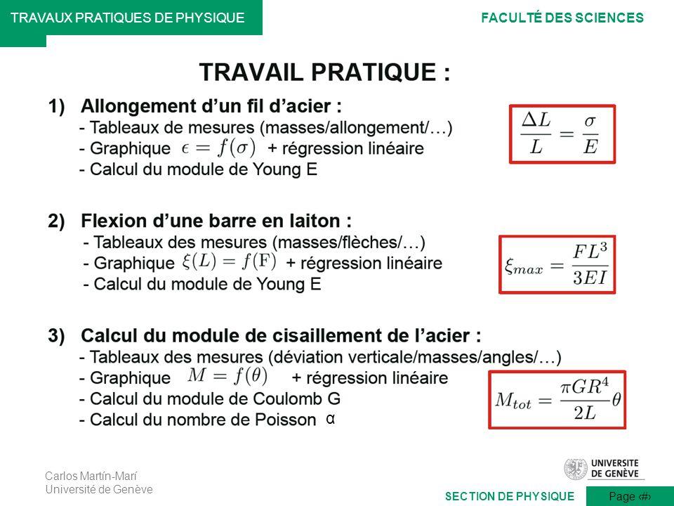 Carlos Martín-Marí Université de Genève Page 15 TRAVAUX PRATIQUES DE PHYSIQUEFACULTÉ DES SCIENCES SECTION DE PHYSIQUE α