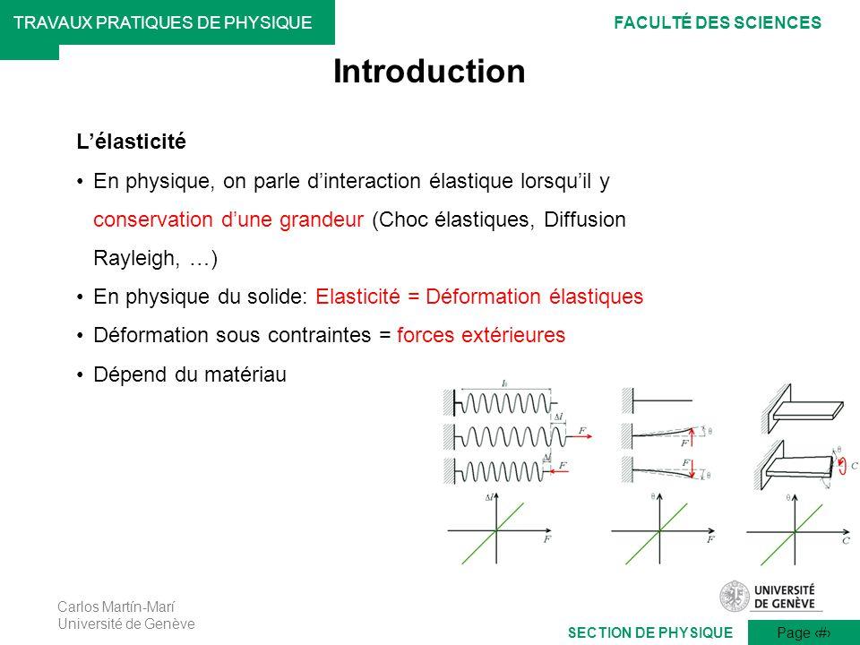 Carlos Martín-Marí Université de Genève Page 2 TRAVAUX PRATIQUES DE PHYSIQUEFACULTÉ DES SCIENCES SECTION DE PHYSIQUE Introduction Lélasticité En physi