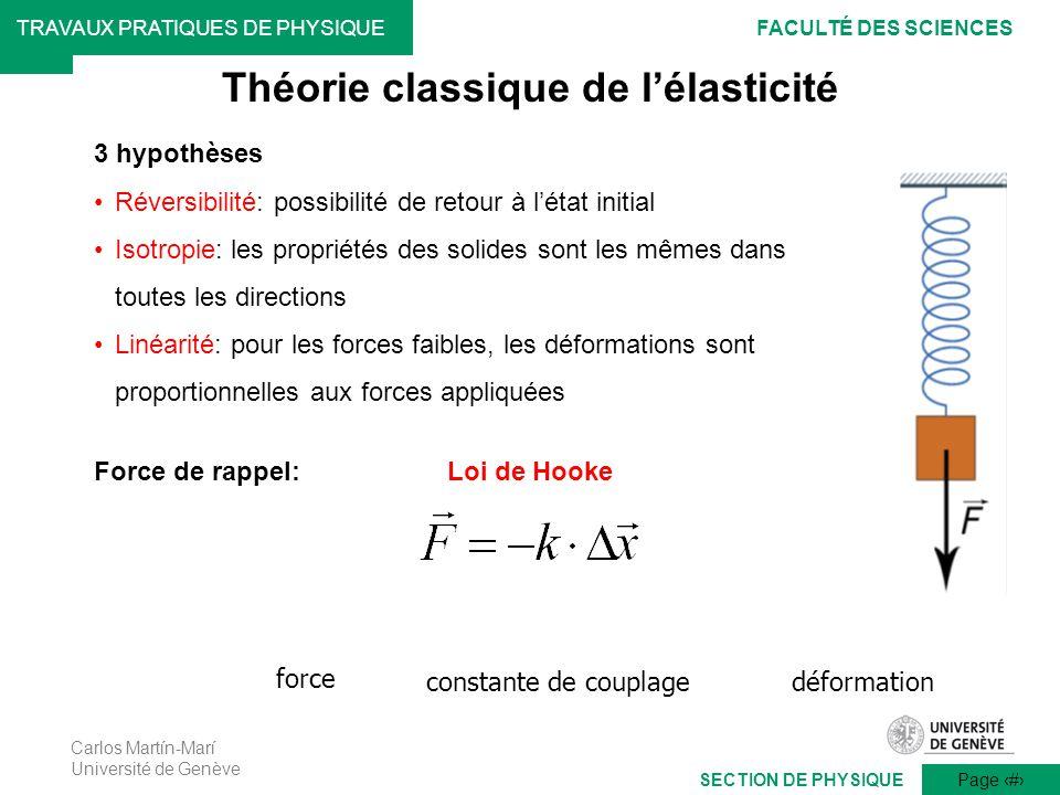 Carlos Martín-Marí Université de Genève Page 3 TRAVAUX PRATIQUES DE PHYSIQUEFACULTÉ DES SCIENCES SECTION DE PHYSIQUE Théorie classique de lélasticité
