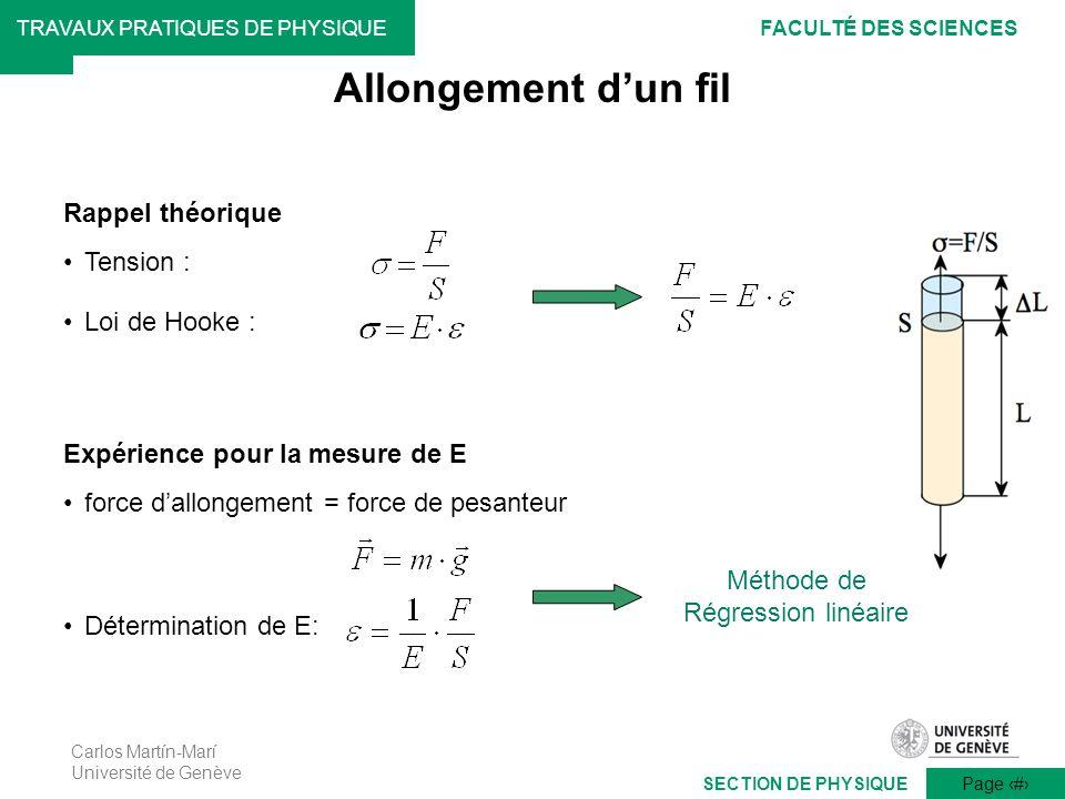 Carlos Martín-Marí Université de Genève Page 6 TRAVAUX PRATIQUES DE PHYSIQUEFACULTÉ DES SCIENCES SECTION DE PHYSIQUE Expérience pour la mesure de E fo
