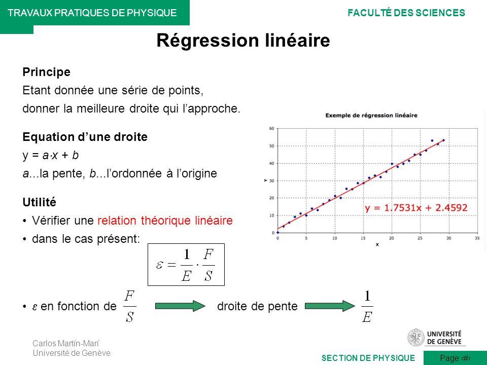 Carlos Martín-Marí Université de Genève Page 7 TRAVAUX PRATIQUES DE PHYSIQUEFACULTÉ DES SCIENCES SECTION DE PHYSIQUE en fonction de droite de pente Ré