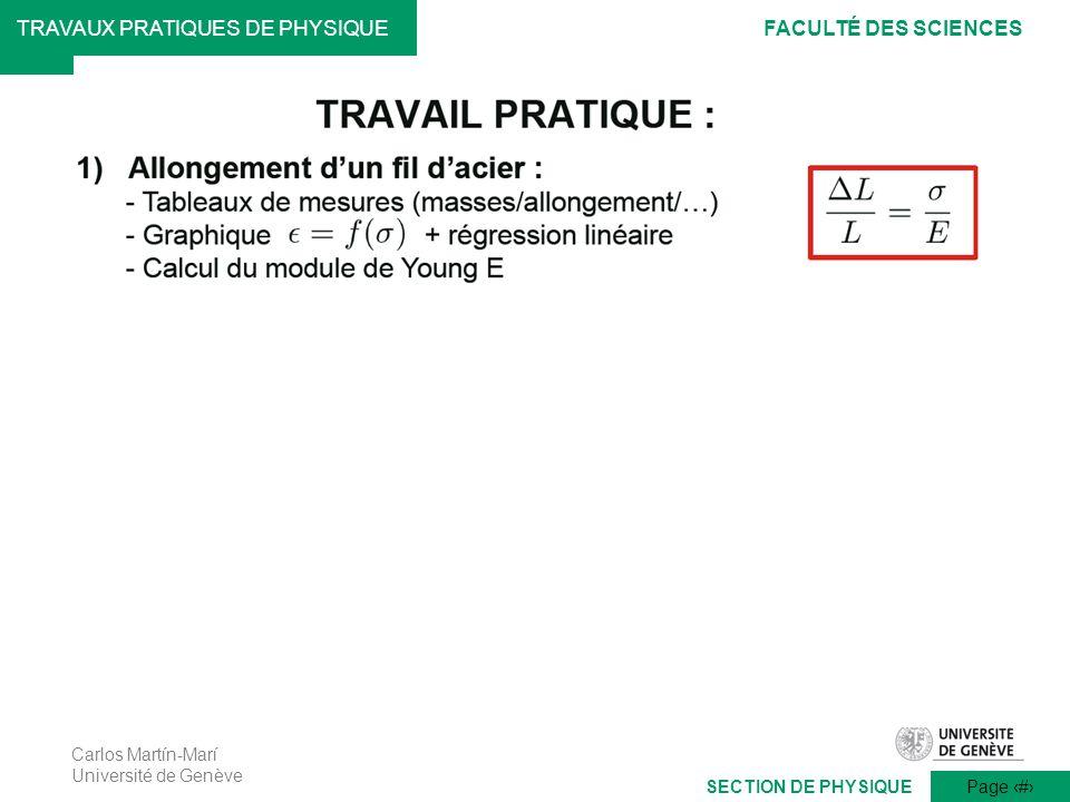 Carlos Martín-Marí Université de Genève Page 9 TRAVAUX PRATIQUES DE PHYSIQUEFACULTÉ DES SCIENCES SECTION DE PHYSIQUE