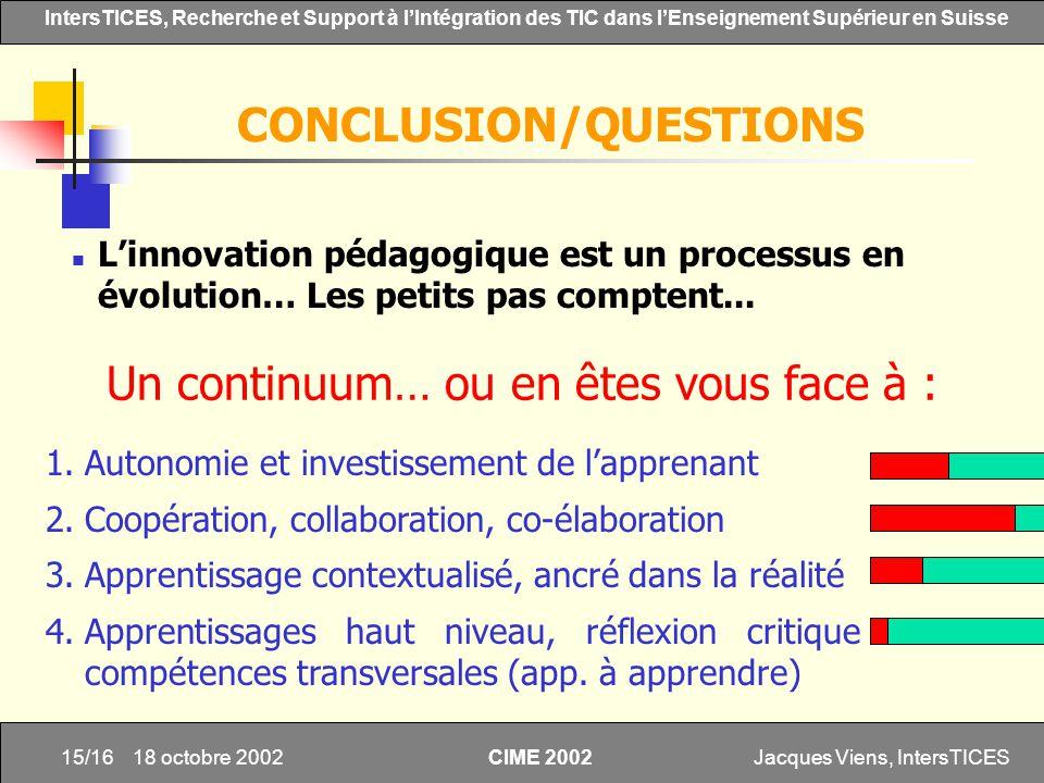 Jacques Viens, IntersTICES15/16 IntersTICES, Recherche et Support à lIntégration des TIC dans lEnseignement Supérieur en Suisse CIME 2002 18 octobre 2