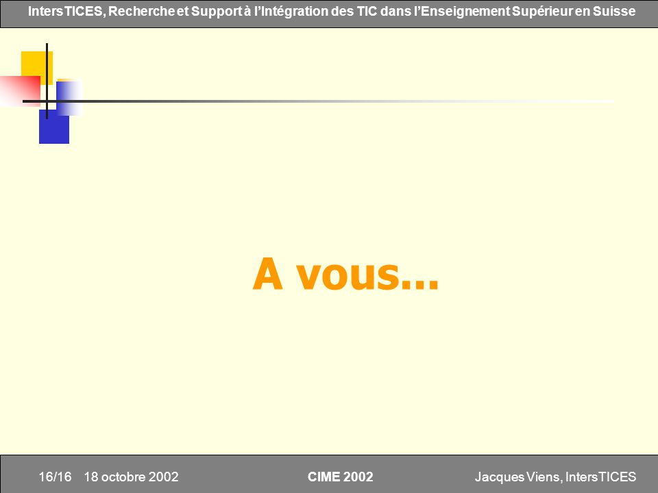 Jacques Viens, IntersTICES16/16 IntersTICES, Recherche et Support à lIntégration des TIC dans lEnseignement Supérieur en Suisse CIME 2002 18 octobre 2