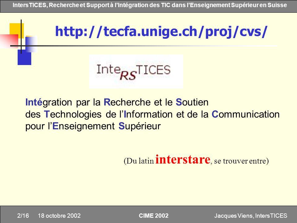 Jacques Viens, IntersTICES2/16 IntersTICES, Recherche et Support à lIntégration des TIC dans lEnseignement Supérieur en Suisse CIME 2002 18 octobre 20