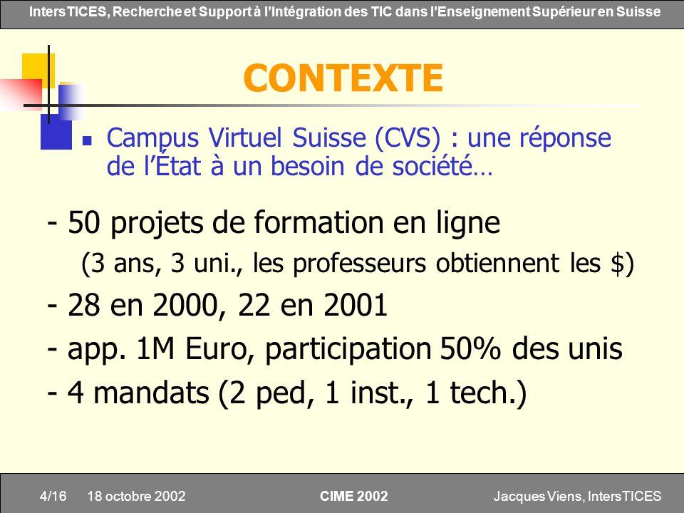 Jacques Viens, IntersTICES4/16 IntersTICES, Recherche et Support à lIntégration des TIC dans lEnseignement Supérieur en Suisse CIME 2002 18 octobre 20